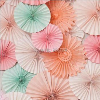 Free Ship 15pcs/Lot 20cm Paper Fan Event & Party Supplies/ Birthday Party Decorations Kids Cheap Paper Flower Fans