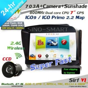 New arrivals Free Shipping 7 inch Car GPS SiRF Atlas-VI 800MHz CPU 256MB DDR3 Navitel 7.5 DUN with wireless parking camera