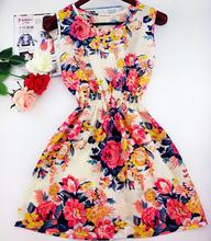 2015 summer autumn new Korean Women casual Bohemian floral leopard sleeveless vest printed beach chiffon dress vestidos WC0344(China (Mainland))