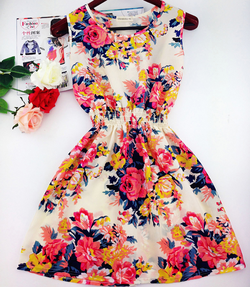 2015 summer autumn vestidos new Korean Women casual Bohemian floral leopard sleeveless vest printed beach chiffon dress WC0344(China (Mainland))