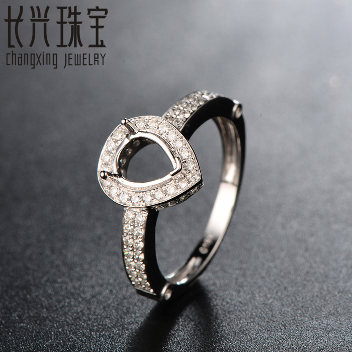 18K White Gold Semi Mount Engagement Pave Diamond Ring Setting 6x2mm Pear for men and women<br><br>Aliexpress