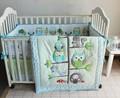 Promotion 7PCS Cartoon Owl otton Baby Crib Bedding Set for Girls Boys Newborn Baby Bed Linen