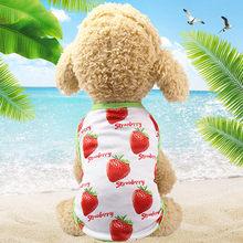 Одежда для влюбленных собак весенне-летнее платье для собак Французский костюм для бульдога с фруктовым принтом, платье для кошек, сетчатый...(China)