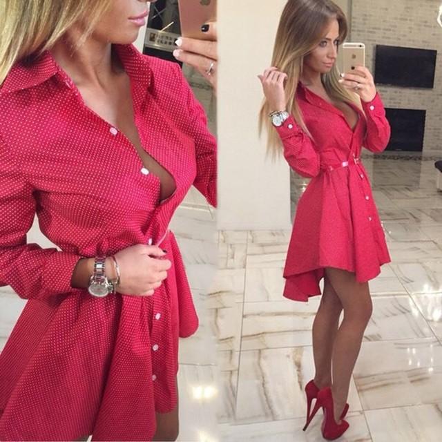 2016 новых осенью мода женщин рубашка маленькие точки напечатаны мода нерегулярные с длинным рукавом мини Vestidos платья