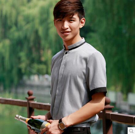 Free Shipping Short-sleeve waiter shirt front desk clothes checkedout restaurant uniform(China (Mainland))