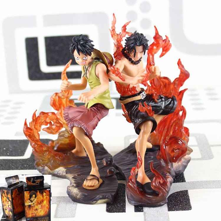 Anime Collectibles Flame Fight Brotherhood Ace Luffy Action Figure One Piece Model Toy Boy Gift Decoration 15cm(China (Mainland))