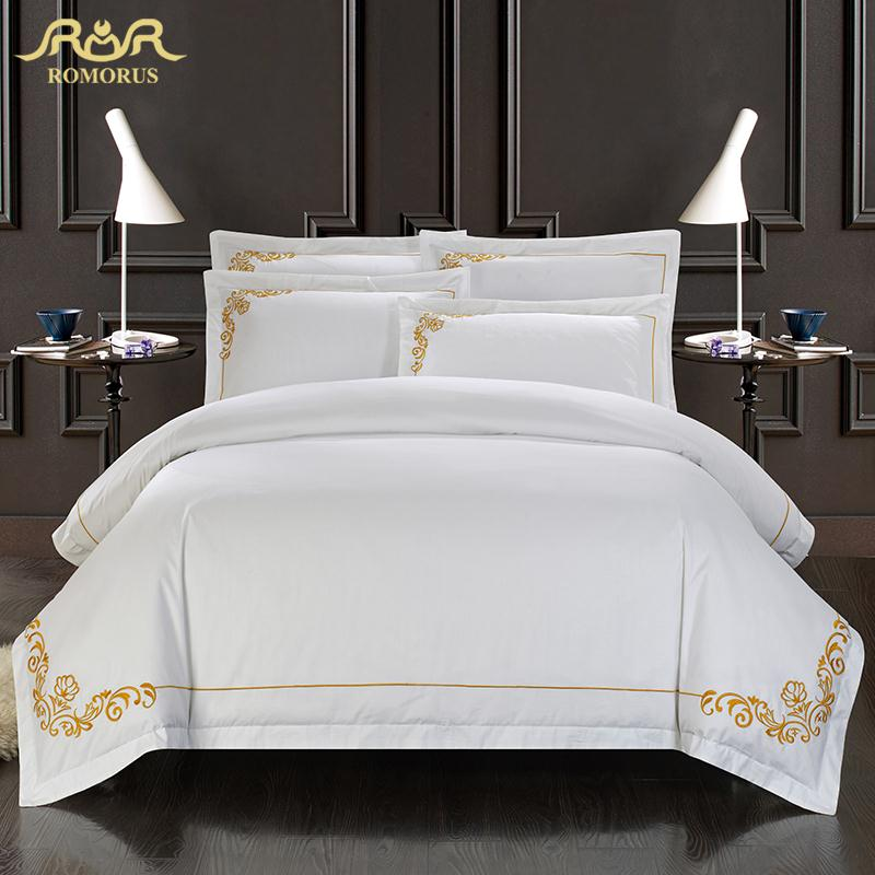 Romorus 100 cotton tribute silk bedding set white embroidered hotel duvet co - Parure de lit zara home ...
