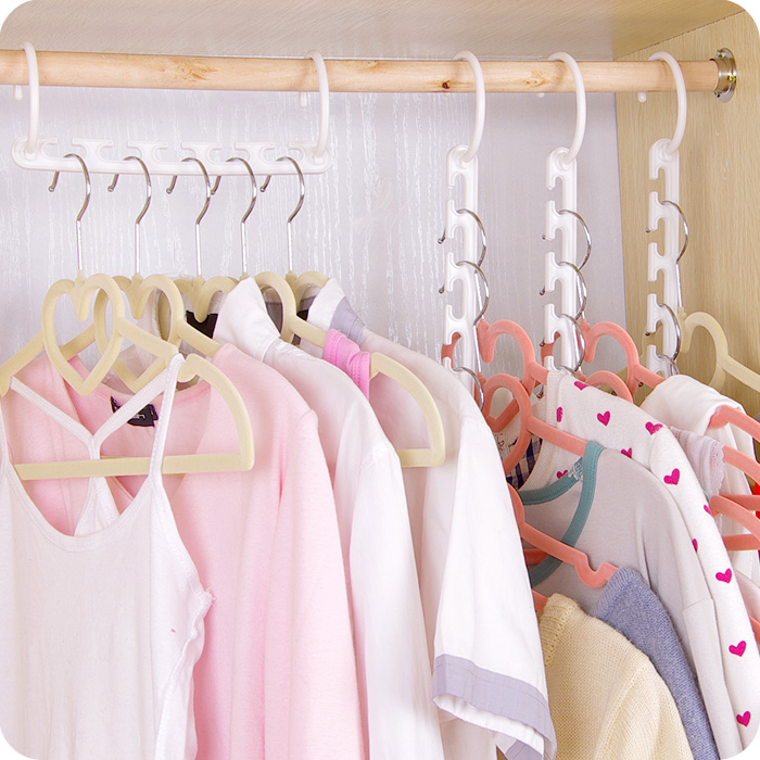 8PCS/Lot Clothes Hanger Wardrobe Multifunctional Magic Clothes Rack Anti Slip Folding Plastic Clothes Rack Space Saving(China (Mainland))