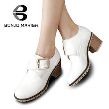 Fashion Women Pumps Roman Style Chunky Med High Heels Buckle Up Wedding Casual Spring Autumn Shoes Round Toe Platform Pumps(China (Mainland))