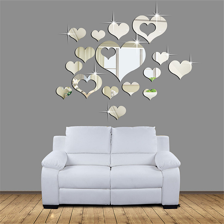 3d stickers plastic wall sticker diy home decor mirror for Decoration miroir