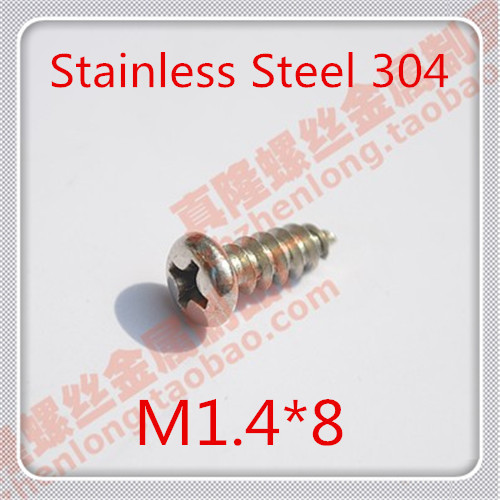 200PCS M1.4*8 Stainless Steel 304 pan Head cross recssed Countersunk Self tapping Screw / Precision Electronic Screws<br><br>Aliexpress