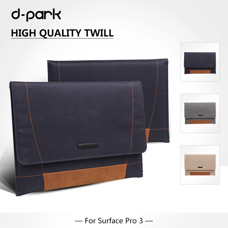 Free Shipping D-park Nylon Twill&Leather Case Sleeve/Pouch For Microsoft Surface Pro 4/3 for Samsung Google Chromebook 11.6(China (Mainland))