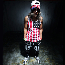 New Men Striped Tank Top Hip Hop Gym Clothes Street Fashion Muscle Sleeveless T shirt National Flag Vest Undershirt Male AMD100