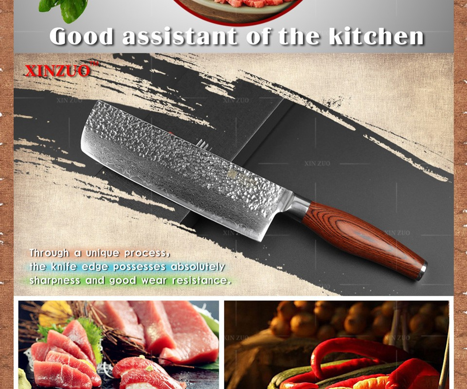 "Buy NEW  7 "" chef knife 73 layers Japanese Damascus steel kitchen knife senior vegetable/meat knife Color wood handle free shipping cheap"