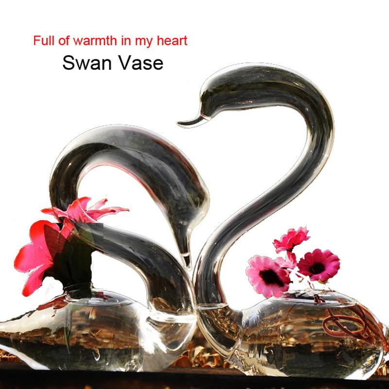 New 2016 Fashion Swan Flower Vase for Wedding Decoration,Home Decor Vase Wedding Decoration Vase Transparent Glass Vase Hot Sell(China (Mainland))