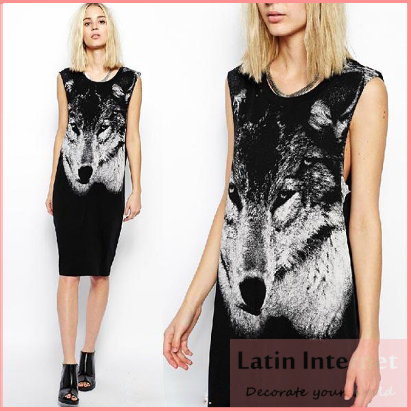 Summer Dress Novelty 3d Shirt Women Cotton Wolf Animal Print Knee-length Vestidos Longos De Verao Black - Latin Internet Fashion Station store