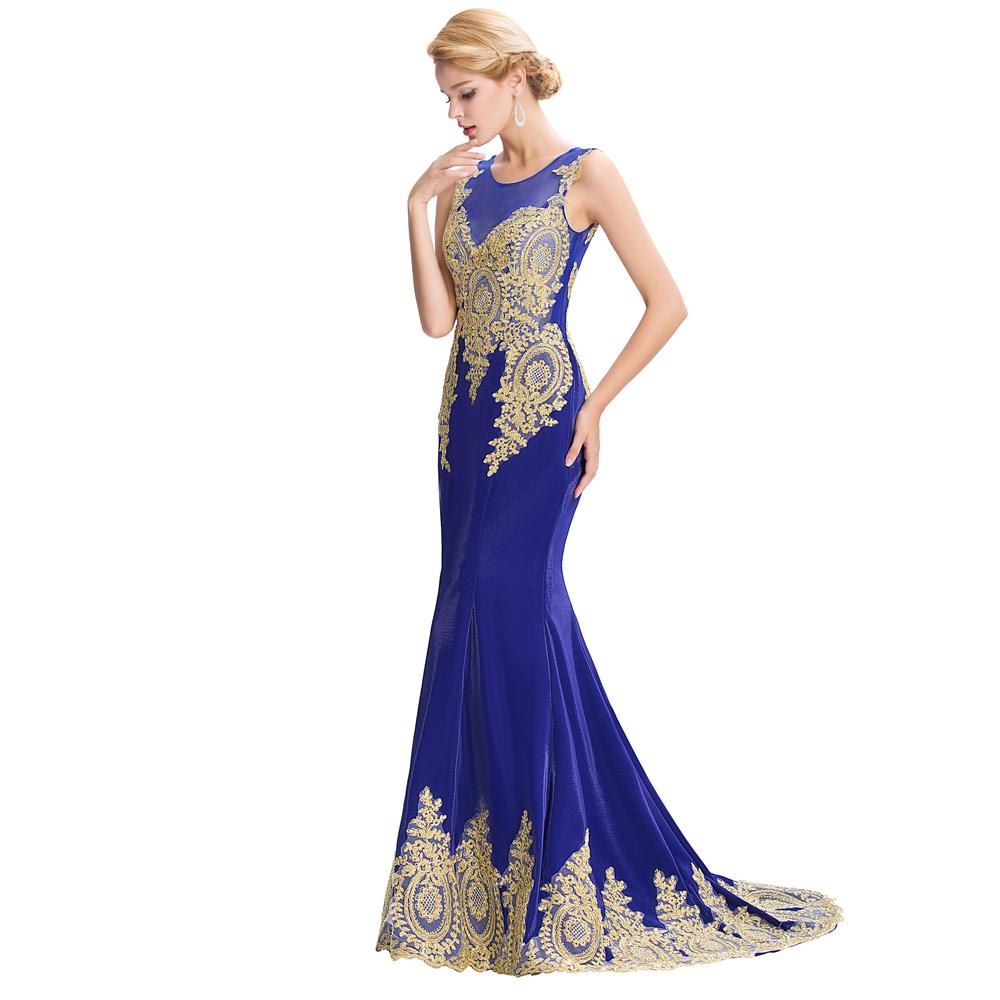 Grace Karin Royal Blue Black Red Evening Dresses Dubai Arabic Gold Appliques 2016 Long Mermaid Evening Gowns Formal Dresses GK26(China (Mainland))