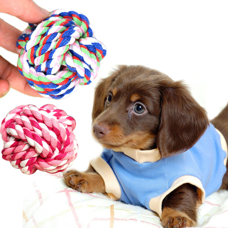 New Design Pets Rope Ball Toys Bite Ball Colorful Squeak Toys Dog Wool Ball Toys Pet Puppy Chew Toys(China (Mainland))