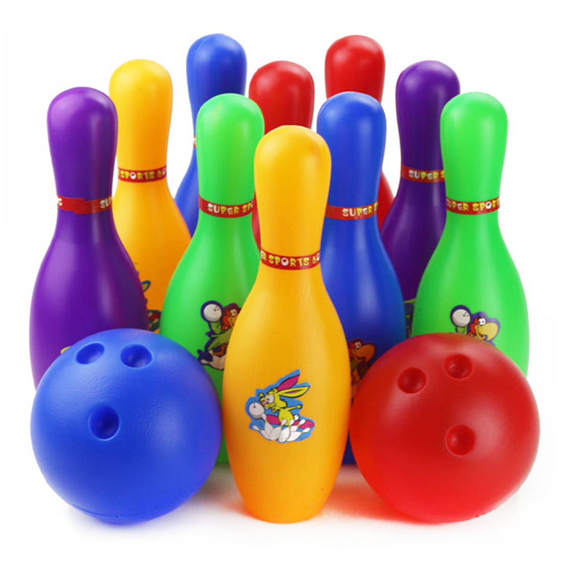 Colorful Standard 12 Piece Bowling Set w/ 10 Pins, 2 Bowling Balls Children Kids Educational Toy Party Fun Family Game (Large)(China (Mainland))