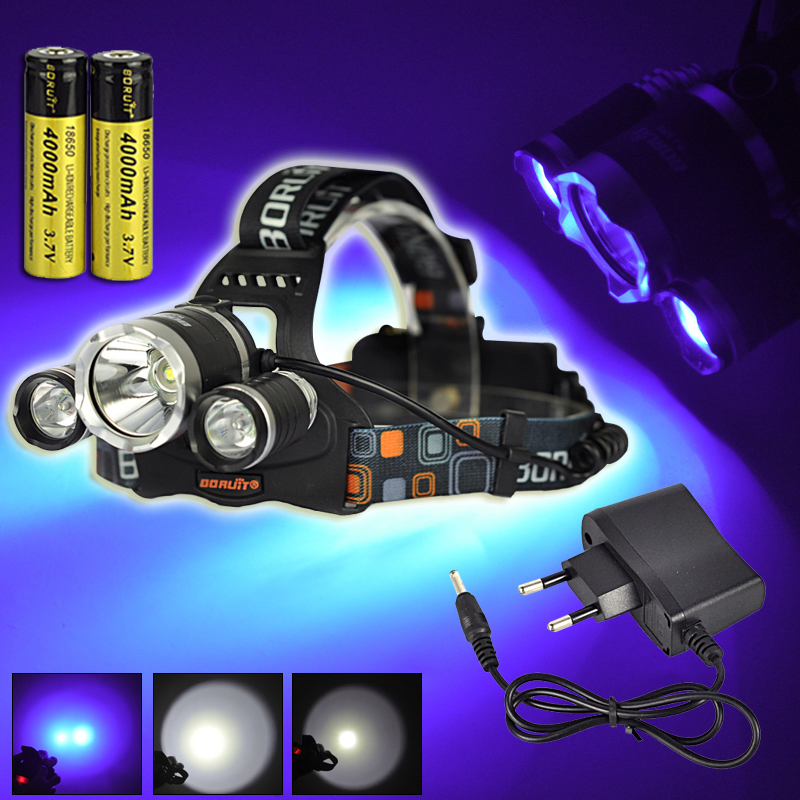 NEW Boruit 5000LM XM-L T6 White+2 *R5 UV Light LED Rechargeable 18650 Headlamp Headlight Head Torch Lamp +EU/US Charger+Battery<br><br>Aliexpress