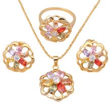 18K Gold Plated Earring Necklaces Rings Jewelry Set Zircon Color Crystal Nickel & Lead free Sz #6.75 #7.75 #8 #9 #7 JS078A - Jos fan's store