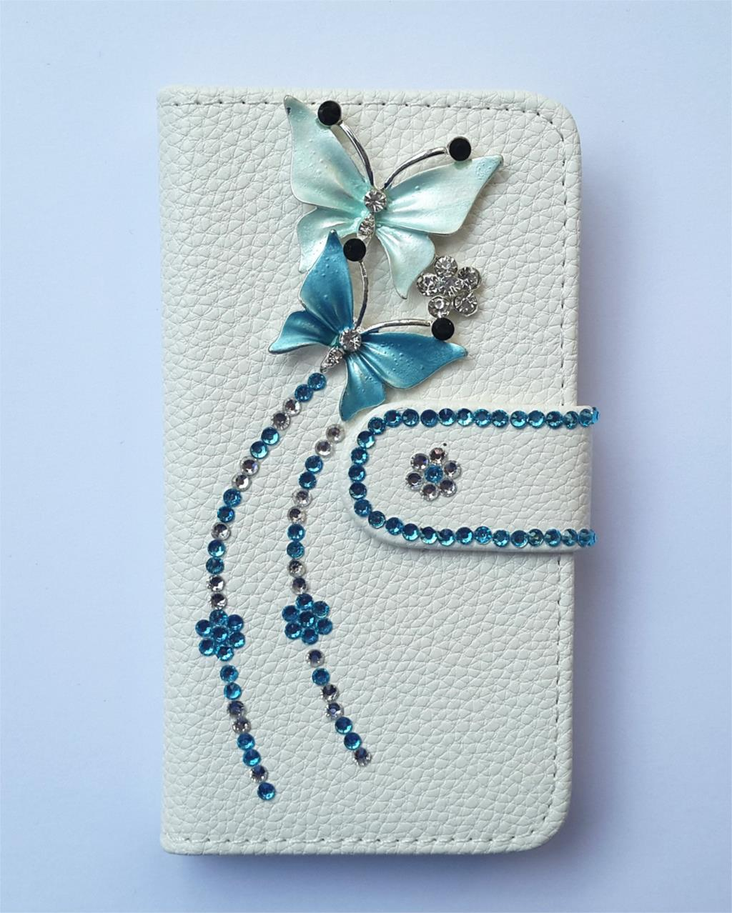 Diamond Butterfly Flip Leather Card slots wallet cover case FOR Samsung Google Nexus S I9020(China (Mainland))