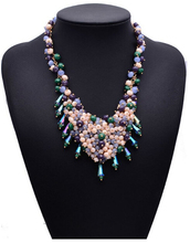 2015 The latest national wind Shourouk big pearl necklace colored beaded statement necklace 5070(China (Mainland))