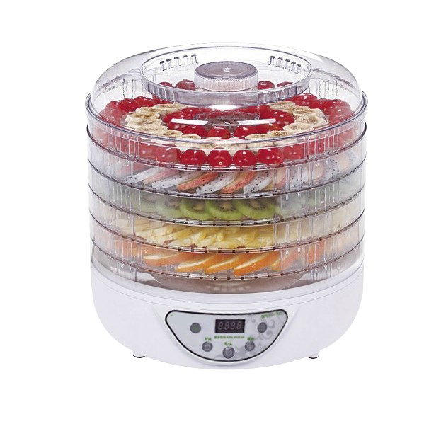 Fruit drying machine food dehydrator with 5 Transparant layer tray height can adjustable extended timer setting function fruit(China (Mainland))