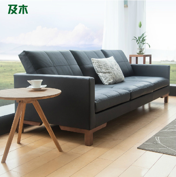 Modern simple living room import leather sofa / black fashion sofa / two types with one seat and three seats(China (Mainland))