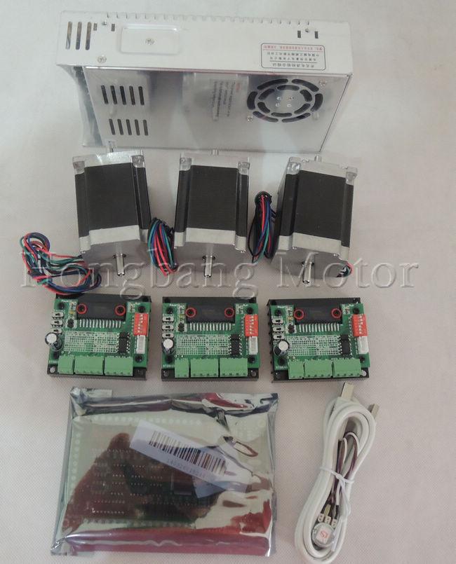 Mach3 USB CNC Router Kit 3 Axis, 3pcs stepper motor driver + mach3 USB interface board + 3pcs nema23 stepper motor +power supply(China (Mainland))