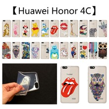 Phone Case Cover For Huawei Honor 4C TPU Case For Honor4C Clear Cartoon Animals Horse Elephant Giraffe Pattern Back Design