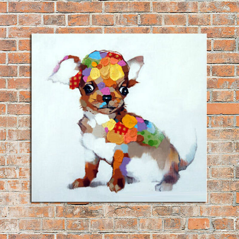 Oil Painting on Canvas Animal Lovely Dog Abstract Oil Painting Good Stickers for Home Decor Wall Stickers for Home Decoration(China (Mainland))