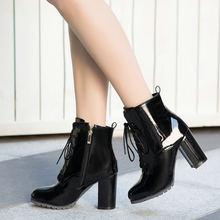 Kadın Kare Yüksek Topuk ayak bileği bağcığı Botları Moda Yan Fermuar Elbise Yuvarlak Ayak Çizmeler Kısa Peluş Kışlık Botlar Siyah Kırmızı Mavi(China)