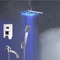 Chrome Ceiling Mounted 8 LED Shower Faucet Hand Shower Sprayer Tub Spout Set Mixer Tap
