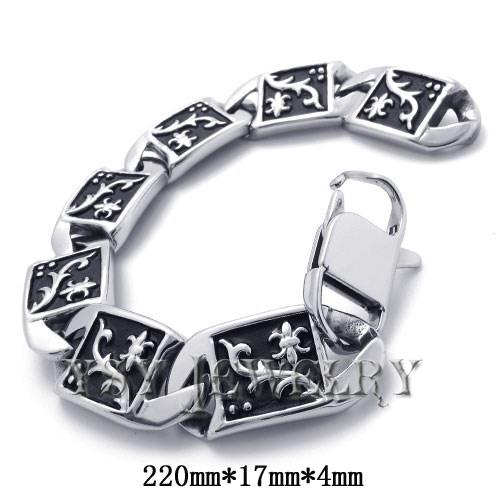 Vintage High quality Stainless steel black and silver tone bracelet men bracelets 2015 new fashion design Distinctive jewelry(China (Mainland))