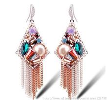 2015 Time-limited Real Trendy Women Pendientes Fine Jewelry Earrings, A Long Section Of Bohemian National Style, Tassel Earrings (China (Mainland))