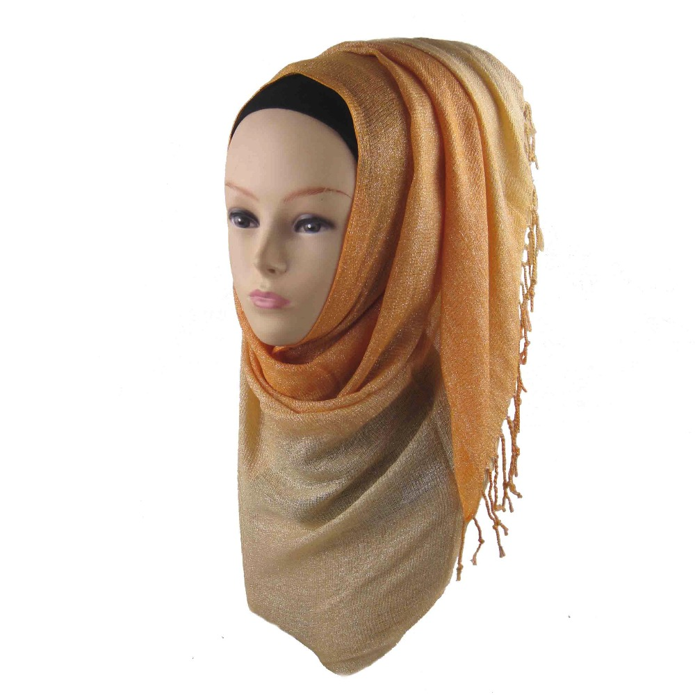 free shipping shinny gold solid scarf women plain shawl cosy viscose scarves and shawl muslim Ombre viscose shimmer hijab ca-10(China (Mainland))