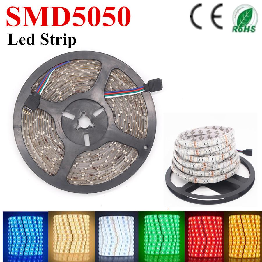 5m/lot 60LED/ m 5m 300LED IP65 waterproof 12V SMD 5050 flexible light white/warm white/red/blue/green/yellow/RGB LED strip(China (Mainland))