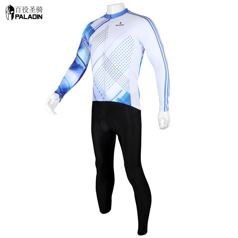 Long Sleeve Bike Racing Clothing Set White Blue Quick Dry High Quality PALADINsports Blue Point 199(China (Mainland))