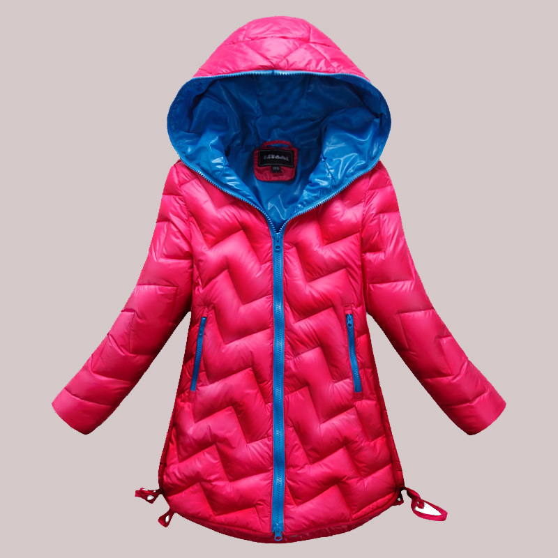 2015 Kids Warm Winter Coat Fashion Baby Girls Down Jacket Pure Colour Children Coat With Cap Hooded Kids Outerwear Yrf24