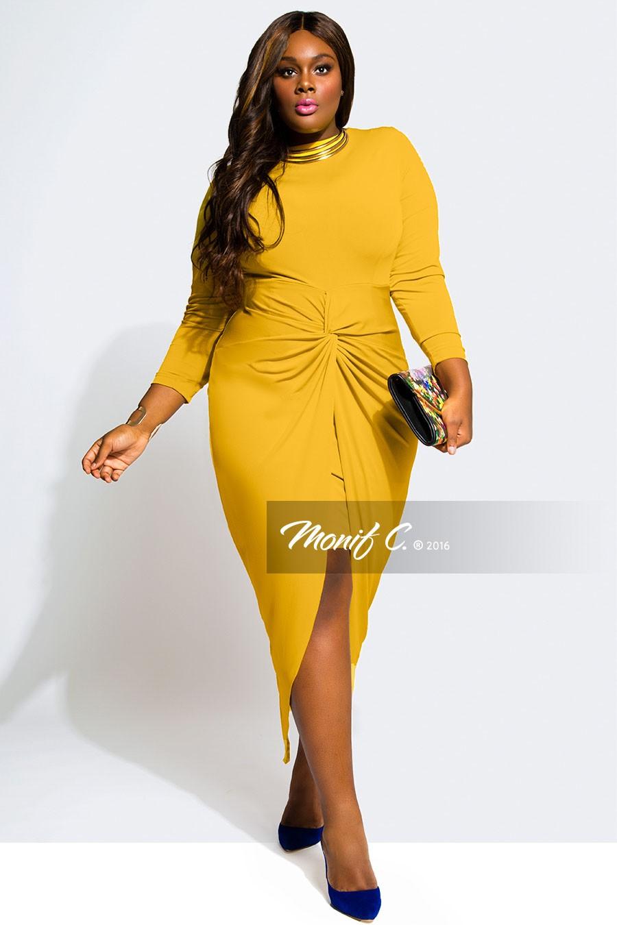 2016 Plus Size New Women's Spring Dress Casual Sexy Lady Clothing Long Sleeve Big Size Yellow Dress Women Deep Fat Clothes(China (Mainland))