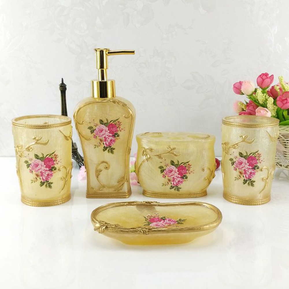 Buy hand craft 5pcs bathroom accessories set floral resin soap dish bath - Bathroom soap dish sets ...