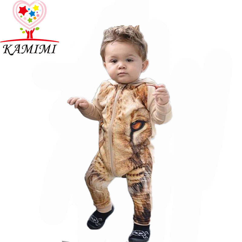 2016 Baby Boy 3D Digital Printing Lion Romper lovely children jumpsuit For Cute Baby bays girls Outerwear Hooded Clothes A211(China (Mainland))