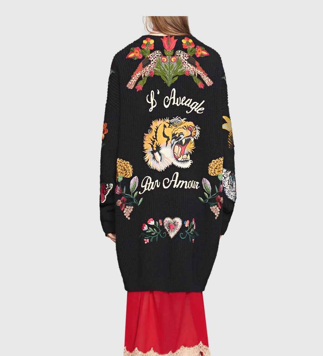 Sweater Jacket Women Cardigans Vintage Tiger Embroidery Knitted Basic Coats Big Size Long Casual Thicken Outwear Blouson Femme