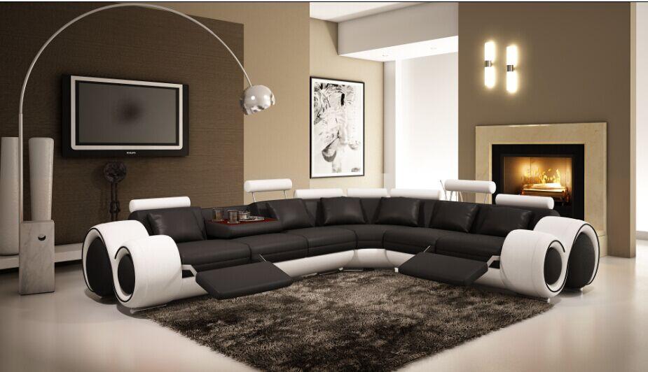 Recliner leather sofa set l shape sofa set designs with genuine leather black&white(China (Mainland))