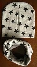 retail and wholesale New style beautiful star baby hat cotton scarf infant hats set child caps scarf  baby cap(China (Mainland))