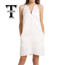 T-INSIDE 2016 Women's Sexy V-Neck Dress Daily Wear with Halter and Pocket Sleeveless White(China (Mainland))