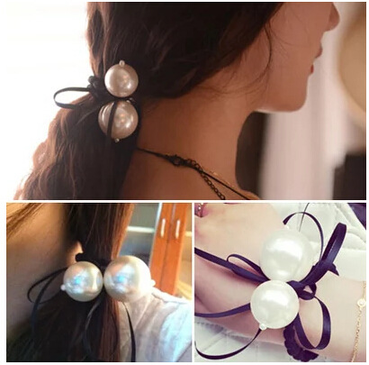 6260 2015 Women girl hair jewelry 2 pcs big pearl tassel ribbon bow hair bands rope headband gum for hair scrunchy free shipping(China (Mainland))