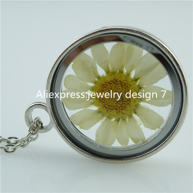 Free Shipping Boutique Daisy Dried Sunflower Inside Locket Box Cage Glass Pendant Necklace(China (Mainland))