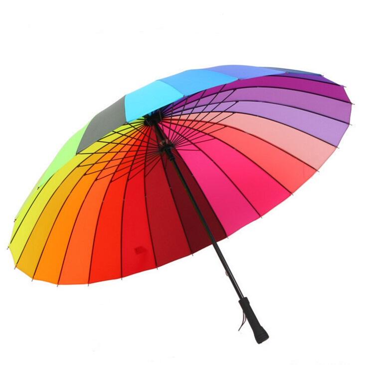 High Quality 24k Color Rainbow Fashion Long Handle Straight Sun/Rain Stick Umbrella Free Shipping(China (Mainland))